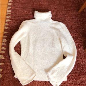 Sweaters - Cream Boucle Turtleneck Sweater.